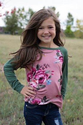 Girls Long Sleeve Floral Mauve and Green with Elbow Patches