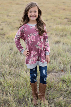 Girls Go To Floral Sweater Burgundy with Gray Trim