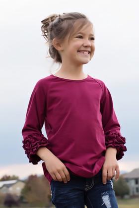 Girls Burgundy Long Sleeve Top With Ruffles