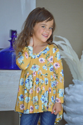 Girls Floral High Low Ruffle Top Mustard CLEARANCE