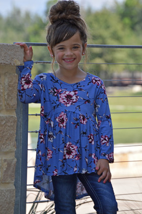 Girls Floral High Low Ruffle Top Periwinkle