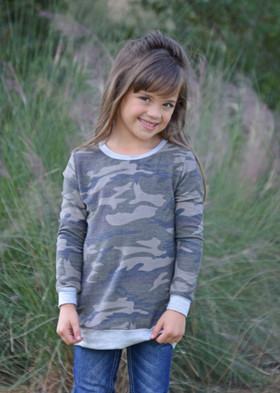 Girls Camouflage Print Sweatshirt