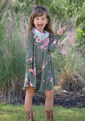 Girls Olive Floral Cowl Neck Dress