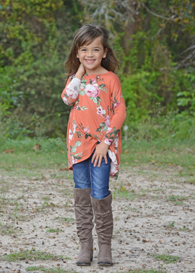 Girls Floral 3/4 Sleeve Dolman Tunic Rust CLEARANCE