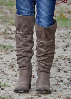 Girls Suede Knee Tall High Boots - Taupe