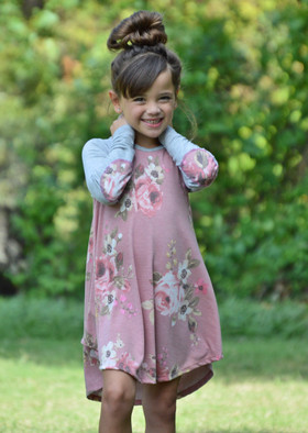 Girls Mauve Floral Long Sleeve Swing Dress with Elbow Patches