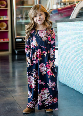 Girls Falling in Love Floral Maxi Dress Navy