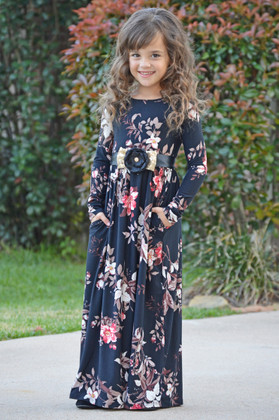 Girls Adore Me Floral Cinched Long Sleeve Maxi Dress Black