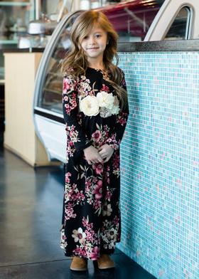 Girls Falling in Love Floral Maxi Dress Black