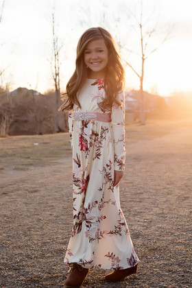 Girls Adore Me Floral Cinched Long Sleeve Maxi Dress Cream