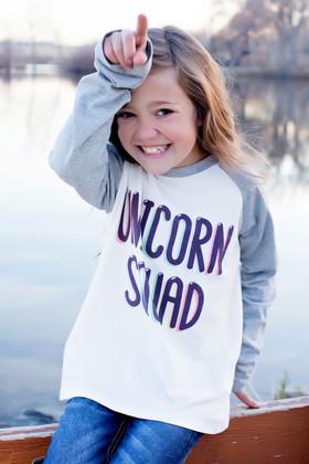 "Girls ""Unicorn Squad"" Long Sleeve Baseball Top"