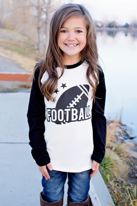 "Girls ""Football"" Long Sleeve Baseball Top"