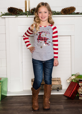 Girls Red Striped Long Sleeve Plaid Deer w/Gold Foil Snowflakes