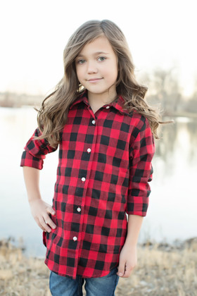 Girls Buffalo Red Plaid Long Sleeve Flannel CLEARANCE