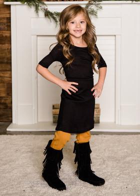 Girls 3/4 Sleeve Midi Dress Black