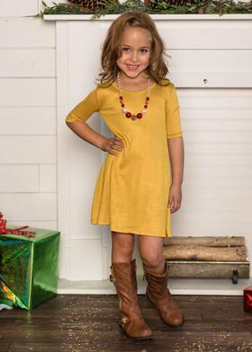 Girls 3/4 Sleeve Midi Dress Mustard