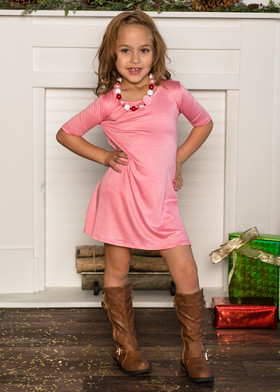 Girls 3/4 Sleeve Midi Dress Pink