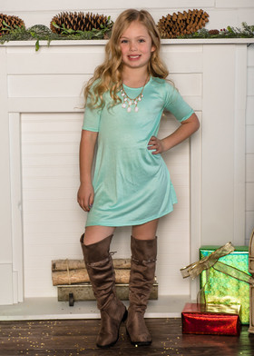 Girls 3/4 Sleeve Midi Dress Mint