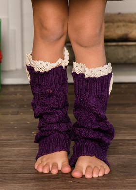 Girls Crochet Lace Knit Leg Warmers Purple