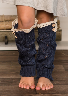 Girls Crochet Lace Knit Leg Warmers Navy