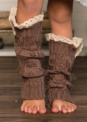 Girls Crochet Lace Knit Leg Warmers Brown