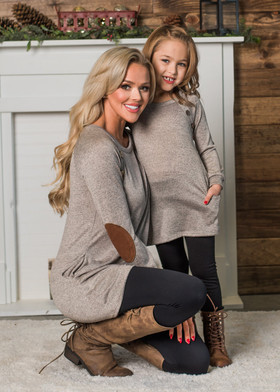 Girls Angled Buttons & Suede Patch Tunic w/ Pockets- Mocha