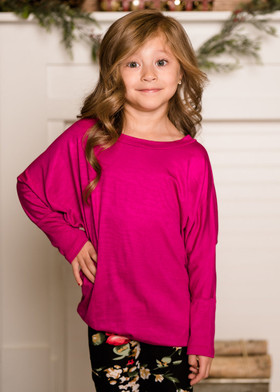 Girls Long Sleeve Dolman Top Magenta
