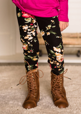 Girls Happy Days Floral Leggings