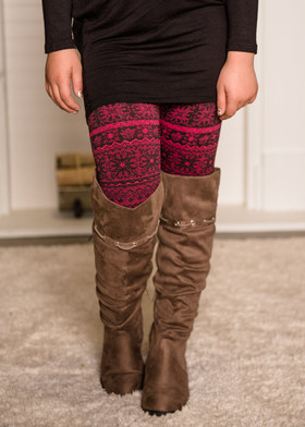 Girls Fairisle Print Kids Seamless Fleece Leggings Pink