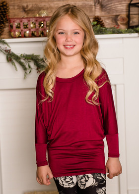 Girls Long Sleeved Dolman Top Wine