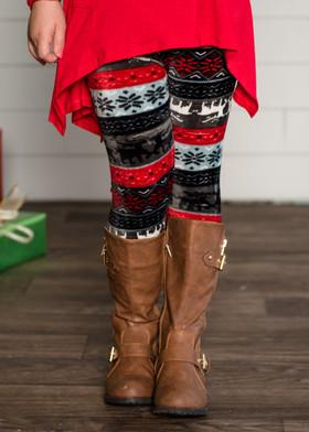 Girls Holiday Reindeer and Snowflake Leggings