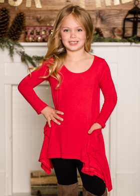 (Cyber Monday) Girls Pocket Full of Sunshine Drape Top Red
