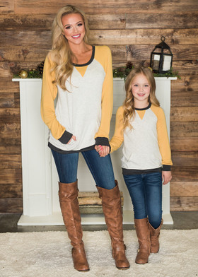 Mommy Mustard Color Block Sweatshirt with Pocket and Elbow Patch
