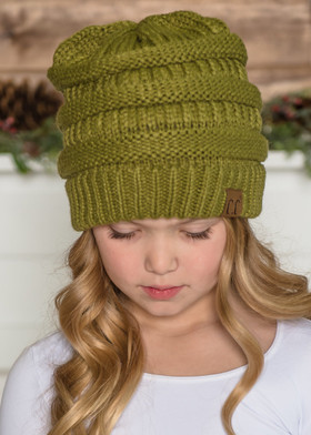 Girls Slouchy Knit Beanie Moss