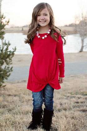 Girls Can you Knot Long Sleeve Red Top