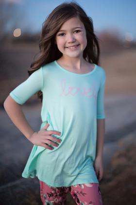"""Girls """"Lovely"""" 3/4 Sleeve Dress Mint"""