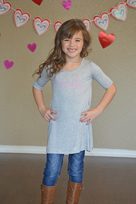 "Girls ""Lovely"" 3/4 Sleeve Dress Gray"