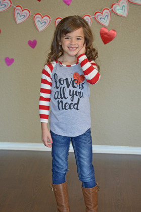 "Girls ""Love is All You Need"" Glittered Heart Striped Top Red CLEARANCE"