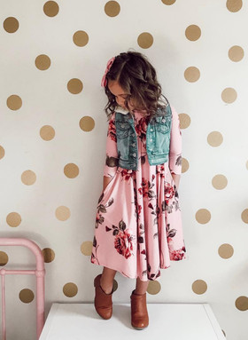 Girls Filled with Roses 3/4 Sleeve Pocket Midi Dress Dusty Rose