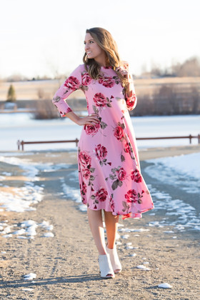 Mommy Filled with Roses 3/4 Sleeve Pocket Midi Dress Dusty Rose