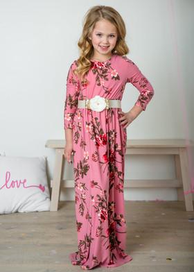 Girls Beautiful Dream Floral Pocket Maxi Dress Pink