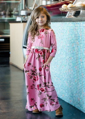 Girls Beautiful Dream Floral Pocket Maxi Dress Pink
