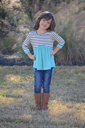 Girls Aqua Haze Striped 3/4 Sleeve Baby Doll Top
