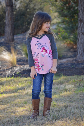 Girls Flower Power 3/4 Sleeve Pink/Gray Criss Cross Baseball Top