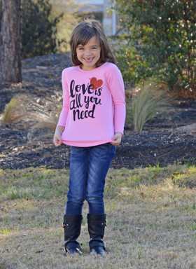 "Girls ""Love Is All You Need"" Solid Pink Top CLEARANCE"