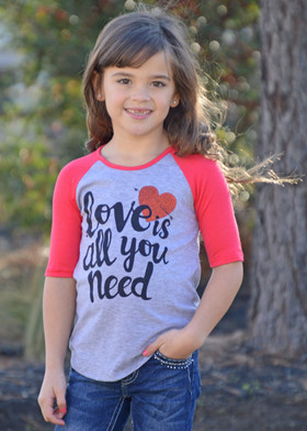"Girls ""Love Is All You Need"" 3/4 Sleeve Top Coral"