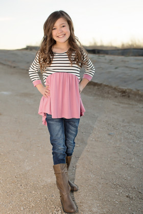 Girls Dusty Pink Striped 3/4 Sleeve Baby Doll Top