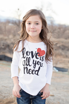 "Girls ""Love Is All You Need"" Solid White Top"