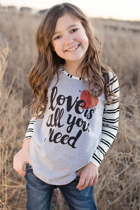 Girls Cupid Arrow Love Striped Top White