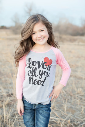 "Girls ""Love is All You Need"" Long Sleeve Baseball Top Light Pink CLEARANCE"